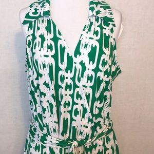 ROZ & ALI Maxi Dress Green & White Chainlink 14W